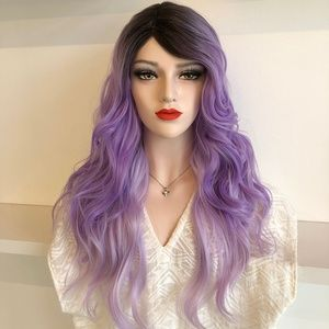 "20"" Pastel Purple Ombre w/ Blk Roots Wig 
